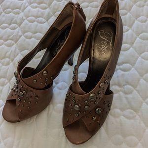 Brown cut out high heels